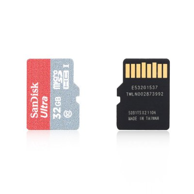 SanDisk 32GB Micro SD Card with Card Adapter SetMemory Cards<br>SanDisk 32GB Micro SD Card with Card Adapter Set<br><br>Brand: SanDisk<br>Memory Capacity: 32G<br>Memory Card Type: SD/SDHC<br>Package Contents: 1 x Micro SD Card, 1 x Card Adapter Set<br>Package size (L x W x H): 15.50 x 10.20 x 1.08 cm / 6.1 x 4.02 x 0.43 inches<br>Package weight: 0.032 kg<br>Product size (L x W x H): 1.50 x 1.10 x 0.08 cm / 0.59 x 0.43 x 0.03 inches<br>Product weight: 0.003 kg<br>Read Speed: 80MB/s<br>Type: Memory Card