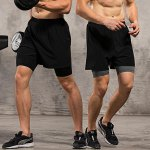 Buy Male Fitness Compression Short Pants M BLACK