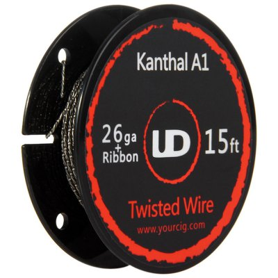 Original Youde UD 26ga + Ribbon Kanthal A1 Twisted WireAccessories<br>Original Youde UD 26ga + Ribbon Kanthal A1 Twisted Wire<br><br>Accessories type: Wicks/Wires<br>Available Color: Silver<br>Brand: Youde<br>Material: Kanthal<br>Package Contents: 1 x Youde UD 26ga + Ribbon Kanthal A1 Twisted Wire<br>Package size (L x W x H): 7.40 x 9.40 x 2.50 cm / 2.91 x 3.7 x 0.98 inches<br>Package weight: 0.064 kg<br>Product size (L x W x H): 4.80 x 4.80 x 1.50 cm / 1.89 x 1.89 x 0.59 inches<br>Product weight: 0.010 kg<br>Type: Electronic Cigarettes Accessories