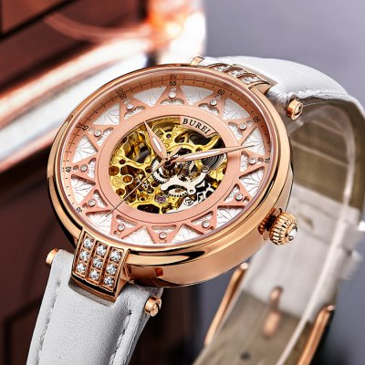 BUREI Fashion Classical Automatic Mechanical Women WatchWomens Watches<br>BUREI Fashion Classical Automatic Mechanical Women Watch<br><br>Available Color: Gold,Rose Gold,White<br>Band material: Genuine Leather<br>Band size: 22 x 1.6 cm / 8.66 x 0.63 inches<br>Case material: Stainless Steel<br>Clasp type: Pin buckle<br>Dial size: 3.5 x 3.5 x 1.16 cm / 1.38 x 1.38 x 0.46 inches<br>Display type: Analog<br>Movement type: Automatic mechanical watch<br>Package Contents: 1 x BUREI Fashion Classical Automatic Mechanical Women Watch<br>Package size (L x W x H): 28.00 x 8.00 x 3.50 cm / 11.02 x 3.15 x 1.38 inches<br>Package weight: 0.104 kg<br>Product size (L x W x H): 22.00 x 3.50 x 1.16 cm / 8.66 x 1.38 x 0.46 inches<br>Product weight: 0.044 kg<br>Shape of the dial: Round<br>Watch mirror: Sapphire<br>Watch style: Fashion<br>Watches categories: Female table<br>Water resistance : 50 meters