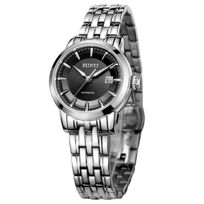 BUREI Business Automatic Mechanical Women WatchWomens Watches<br>BUREI Business Automatic Mechanical Women Watch<br><br>Watches categories: Female table<br>Watch style: Business<br>Available color: Black,Gold,Rose Gold,Silver<br>Movement type: Automatic mechanical watch<br>Watch mirror: Sapphire<br>Shape of the dial: Round<br>Display type: Analog<br>Case material: Stainless Steel<br>Band material: Stainless Steel<br>Clasp type: Butterfly clasp<br>Water resistance : 100 meters<br>Special features: Date,Luminous<br>Dial size: 2.8 x 2.8 x 1.1 cm / 1.1 x 1.1 x 0.43 inches<br>Band size: 26 x 2.2 cm / 10.24 x 0.87 inches<br>Product weight: 0.073 kg<br>Package weight: 0.133 kg<br>Product size (L x W x H): 26.00 x 2.80 x 1.10 cm / 10.24 x 1.1 x 0.43 inches<br>Package size (L x W x H): 28.00 x 8.00 x 3.50 cm / 11.02 x 3.15 x 1.38 inches<br>Package Contents: 1 x BUREI Busines Automatic Mechanical Women Watch