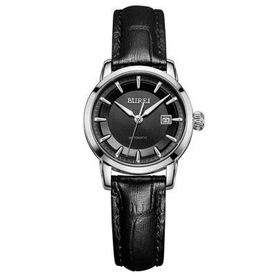 BUREI Business Automatic Mechanical Women WatchWomens Watches<br>BUREI Business Automatic Mechanical Women Watch<br><br>Watches categories: Female table<br>Watch style: Business<br>Available color: Black,Gold,Rose Gold,Silver<br>Movement type: Automatic mechanical watch<br>Watch mirror: Sapphire<br>Shape of the dial: Round<br>Display type: Analog<br>Case material: Stainless Steel<br>Band material: Genuine Leather<br>Clasp type: Pin buckle<br>Water resistance : 100 meters<br>Special features: Date,Luminous<br>Dial size: 2.8 x 2.8 x 1.1 cm / 1.1 x 1.1 x 0.43 inches<br>Band size: 26 x 2.2 cm / 10.24 x 0.87 inches<br>Product weight: 0.032 kg<br>Package weight: 0.092 kg<br>Product size (L x W x H): 26.00 x 2.80 x 1.10 cm / 10.24 x 1.1 x 0.43 inches<br>Package size (L x W x H): 28.00 x 8.00 x 3.50 cm / 11.02 x 3.15 x 1.38 inches<br>Package Contents: 1 x BUREI Busines Automatic Mechanical Women Watch