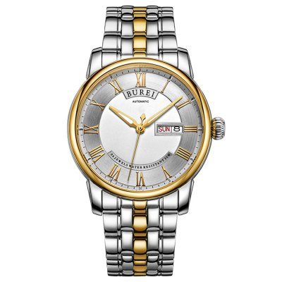 BUREI Retro Fashion Automatic Mechanical Men WatchMens Watches<br>BUREI Retro Fashion Automatic Mechanical Men Watch<br><br>Band material: Stainless Steel<br>Band size: 23 x 2.2 cm / 9.06 x 0.87 inches<br>Case material: Stainless Steel<br>Clasp type: Butterfly clasp<br>Dial size: 4.2 x 4.2 x 1.1 cm / 1.65 x 1.65 x 0.43 inches<br>Display type: Analog<br>Movement type: Automatic mechanical watch<br>Package Contents: 1 x BUREI Retro Fashion Automatic Mechanical Men Watch<br>Package size (L x W x H): 28.00 x 8.00 x 3.50 cm / 11.02 x 3.15 x 1.38 inches<br>Package weight: 0.209 kg<br>Product size (L x W x H): 23.00 x 4.20 x 1.10 cm / 9.06 x 1.65 x 0.43 inches<br>Product weight: 0.149 kg<br>Shape of the dial: Round<br>Special features: Luminous, Date<br>Watch color: Black, Gold + Silver, Silver<br>Watch style: Retro, Fashion<br>Watches categories: Male table<br>Water resistance : 50 meters