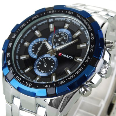 Military Waterproof Watches with Three Small Decorating Hands Round Dial and Steel Band