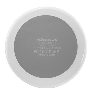 Nillkin MC010 3 in 1 Qi Wireless Charger TransmitterChargers &amp; Cables<br>Nillkin MC010 3 in 1 Qi Wireless Charger Transmitter<br><br>Brand: Nillkin<br>Color: White<br>Connection Type: DC Input Interface, Four USB Output Interface, USB 3.0<br>Input: DC 5V / 5A<br>Material: Silicone, PC, ABS<br>Model: MC010<br>Output: 5V / 4.5A ( total ), USB output 5V / 2.1A ( max ), wireless output 5V / 1A,<br>Package Contents: 1 x Wireless Charger, 1 x 120cm USB 3.0 Cable, 1 x Adapter, 1 x English / Chinese User Manual<br>Package size (L x W x H): 13.80 x 13.80 x 10.00 cm / 5.43 x 5.43 x 3.94 inches<br>Package weight: 0.610 kg<br>Product size (L x W x H): 9.50 x 9.50 x 2.60 cm / 3.74 x 3.74 x 1.02 inches<br>Product weight: 0.128 kg<br>Type: Wireless Chargers