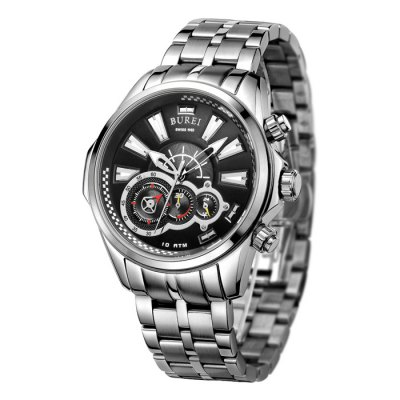 BUREI Multi-purpose Sports Style Luminous Dial Men Quartz WatchMens Watches<br>BUREI Multi-purpose Sports Style Luminous Dial Men Quartz Watch<br><br>Band material: Stainless Steel<br>Band size: 22 x 2 cm / 8.66 x 0.79 inches<br>Case material: Stainless Steel<br>Clasp type: Butterfly clasp<br>Dial size: 4.6 x 4.6 x 1.1 cm / 1.81 x 1.81 x 0.43 inches<br>Display type: Analog<br>Movement type: Quartz watch<br>Package Contents: 1 x BUREI Multifunctional Sports Style Men Quartz Watch<br>Package size (L x W x H): 28.00 x 8.00 x 3.50 cm / 11.02 x 3.15 x 1.38 inches<br>Package weight: 0.229 kg<br>Product size (L x W x H): 22.00 x 4.60 x 1.10 cm / 8.66 x 1.81 x 0.43 inches<br>Product weight: 0.169 kg<br>Shape of the dial: Round<br>Watch color: Black, Red, Red + Gold, Blue + Gold<br>Watch mirror: Sapphire<br>Watch style: Trends in outdoor sports<br>Watches categories: Male table<br>Water resistance : 100 meters