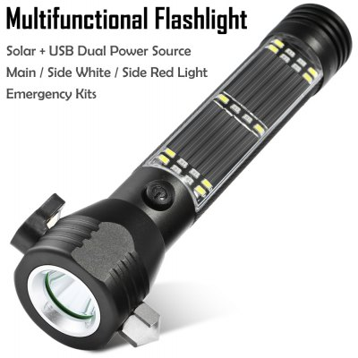 LED Solar Powered Flashlight with Survival Kits