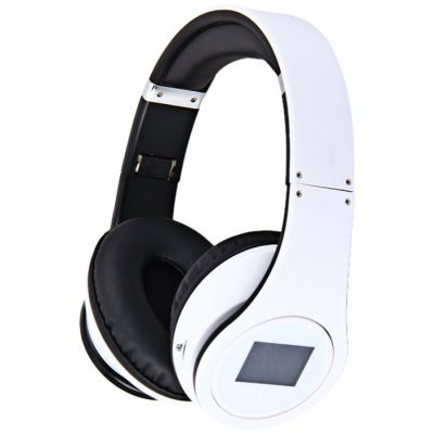 BQ-508 Electronic Screen Flexible Folding Design Wireless Headphone Sports MP3 Player - White