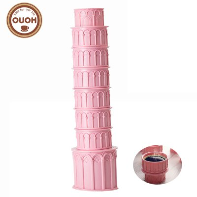 Pisa Tower Shaped Water Bottle Cup Set