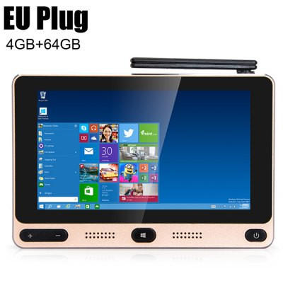GOLE GOLE1 5 inch 720 x 1280 Mini PC Windows 10 / Android 5.1Mini PC<br>GOLE GOLE1 5 inch 720 x 1280 Mini PC Windows 10 / Android 5.1<br><br>Audio format: RM, WAV, AAC, WMA, FLAC, OGG<br>Bluetooth: Bluetooth4.0<br>Color: Golden<br>Core: 1.84GHz, Quad Core<br>CPU: Intel Cherry Trail Z8350<br>GPU: Gen 8 Graphics<br>Interface: Ethernet, USB3.0, USB2.0, TF card, Micro USB, 3.5mm Audio, DC Power Port, HDMI<br>Language: Multi-language<br>Model: GOLE1<br>Package Contents: 1 x GOLE F1 5 inch Mini PC, 1 x HDMI Cable, 1 x Power Adapter, 1 x English Manual<br>Package size (L x W x H): 16.50 x 16.50 x 6.50 cm / 6.5 x 6.5 x 2.56 inches<br>Package weight: 0.7800 kg<br>Photo Format: JPG, BMP, JPEG, GIF, PNG, TIFF<br>Power Adapter Output: 5V 3A<br>Power Input Vol: 5V<br>Power Supply: Charge Adapter<br>Power Type: External Power Adapter Mode<br>Product size (L x W x H): 13.50 x 9.00 x 2.00 cm / 5.31 x 3.54 x 0.79 inches<br>Product weight: 0.2000 kg<br>RAM: 4G<br>ROM: 64G<br>System: Android 5.1,Windows 10<br>System Bit: 64Bit<br>Type: Mini PC<br>Video format: MOV, MPEG-1, MPEG-4, MPEG2, MPG, RM, RMVB, WMV<br>WIFI: 802.11 b/g/n/ac