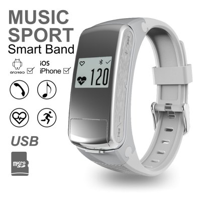 F50 Heart Rate Monitor U Disk Music Player Smart WristbandSmart Watches<br>F50 Heart Rate Monitor U Disk Music Player Smart Wristband<br><br>Alert type: Vibration<br>Available Color: Black,Silver<br>Band material: Silicone<br>Band size: 11.8 x 1.5 cm / 4.65 x 0.59 inches<br>Battery  Capacity: 150mAh<br>Bluetooth calling: Answering<br>Bluetooth Version: Bluetooth 4.0<br>Case material: ABS<br>Compatability: Android 4.3 / iOS 8.0 and above system<br>Compatible OS: Android, IOS<br>Dial size: 4.8 x 2.1 x 1.2 cm / 1.89 x 0.83 x 0.47 inches<br>External Memory: TF card up to 32GB<br>Health tracker: Heart rate monitor,Pedometer,Sedentary reminder,Sleep monitor<br>IP rating: Life Waterproof<br>Language: Czech,English,French,German,Italian,Japanese,Polish,Simplified Chinese,Spanish,Traditional Chinese<br>Locking screen : 1<br>Messaging: Message reminder<br>Operating mode: Touch Screen<br>Other Function: Alarm<br>Package Contents: 1 x F50 Smart Wristband, 1 x English User Manual, 1 x Charging Cable<br>Package size (L x W x H): 16.50 x 11.00 x 2.60 cm / 6.5 x 4.33 x 1.02 inches<br>Package weight: 0.1700 kg<br>People: Female table,Male table<br>Product size (L x W x H): 24.50 x 1.50 x 1.20 cm / 9.65 x 0.59 x 0.47 inches<br>Product weight: 0.0320 kg<br>Remote control function: Remote music<br>Screen resolution: 64 x 48<br>Shape of the dial: Rectangle<br>Waterproof: Yes