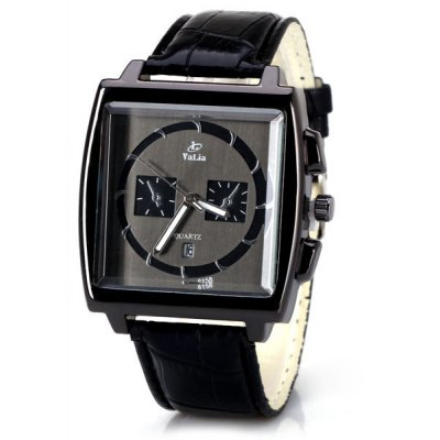 Unique Men Watch Analog with Date Square Dial Leather Watch Band