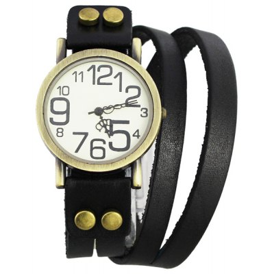 CaiQi Unisex Watch with Quartz Analog Dial Button Leather Watchband