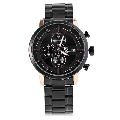 T5 H3451G Casual Working Sub-dial 3ATM Men Quartz WatchMens Watches<br>T5 H3451G Casual Working Sub-dial 3ATM Men Quartz Watch<br><br>Brand: T5<br>Watches categories: Male table<br>Watch style: Casual<br>Watch color: Black, Gold, Black + White, Black + Silver, White<br>Movement type: Quartz watch<br>Shape of the dial: Round<br>Display type: Analog<br>Case material: Stainless Steel<br>Band material: Stainless Steel<br>Clasp type: Folding clasp with safety<br>Special features: Working sub-dial<br>Water resistance : 30 meters<br>Dial size: 5 x 5 x 1.3 cm / 1.97 x 1.97 x 0.51 inches<br>Band size: 22 x 2.3 cm / 8.66 x 0.91 inches<br>Product weight: 0.130 kg<br>Package weight: 0.164 kg<br>Product size (L x W x H): 22.00 x 5.00 x 1.30 cm / 8.66 x 1.97 x 0.51 inches<br>Package size (L x W x H): 12.00 x 6.00 x 2.30 cm / 4.72 x 2.36 x 0.91 inches<br>Package Contents: 1 x T5 H3451G Casual Men Quartz Watch, 1 x Chinese English User Manual