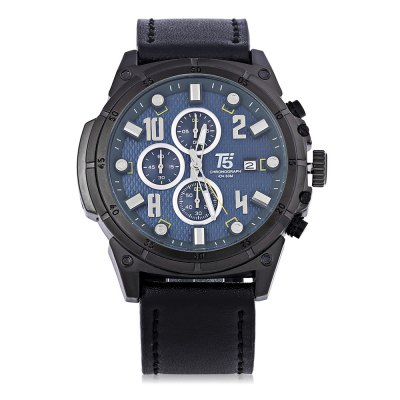 T5 H3436G Casual Working Sub-dial 3ATM Men Quartz WatchMens Watches<br>T5 H3436G Casual Working Sub-dial 3ATM Men Quartz Watch<br><br>Brand: T5<br>Watches categories: Male table<br>Watch style: Casual<br>Available color: Black,Blue,Brown,Red,White<br>Movement type: Quartz watch<br>Shape of the dial: Round<br>Display type: Analog<br>Case material: Stainless Steel<br>Band material: Genuine Leather<br>Clasp type: Pin buckle<br>Special features: Working sub-dial<br>Water resistance : 30 meters<br>Dial size: 5.3 x 5.3 x 1.6 cm / 2.09 x 2.09 x 0.63 inches<br>Band size: 26 x 2.4 cm / 10.24 x 0.94 inches<br>Wearable length: 18 - 23.7 cm / 7.09 - 9.33 inches<br>Product weight: 0.089 kg<br>Package weight: 0.126 kg<br>Product size (L x W x H): 26.00 x 5.30 x 1.60 cm / 10.24 x 2.09 x 0.63 inches<br>Package size (L x W x H): 27.00 x 6.30 x 2.60 cm / 10.63 x 2.48 x 1.02 inches<br>Package Contents: 1 x T5 H3436G Casual Men Quartz Watch, 1 x Chinese English User Manual