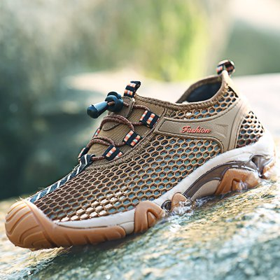 Male Breathable Upstream Shoes with Breathable Mesh Upper