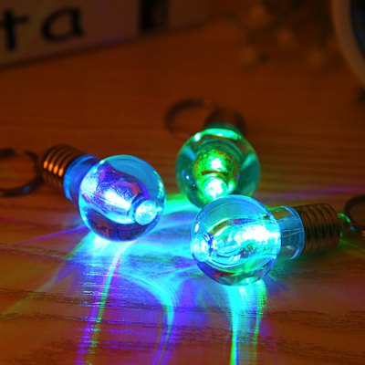 1pc LED Flash Keychain Glass Bulb Key Ring Toy