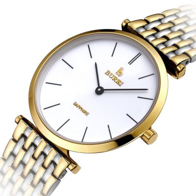 BUREI Retro Men Quartz Watch with Sapphire Mirror