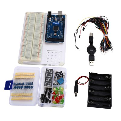MEGA2560 R3 Starter Learning Kit for ArduinoKits<br>MEGA2560 R3 Starter Learning Kit for Arduino<br><br>Audio Chipset: MEGA2560<br>Digital I/O Channels: 54<br>Mainly Compatible with: Arduino Mega 2560<br>Operating voltage: 5V<br>Package Contents: 1 x MEGA2560 R3 Starter Learning Kit for Arduino<br>Package Size(L x W x H): 22.00 x 17.00 x 4.50 cm / 8.66 x 6.69 x 1.77 inches<br>Package weight: 0.520 kg<br>Product Size(L x W x H): 18.00 x 12.00 x 2.20 cm / 7.09 x 4.72 x 0.87 inches<br>Product weight: 0.369 kg<br>Suitable for: Arduino