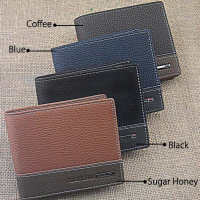 Bifold Male WalletMens Wallets<br>Bifold Male Wallet<br><br>Style: Business,Casual<br>Material: PU<br>Color: Black,Blue,Coffee,Sugar Honey<br>Product weight: 0.100 kg<br>Package weight: 0.140 kg<br>Product Size(L x W x H): 19.00 x 9.50 x 1.50 cm / 7.48 x 3.74 x 0.59 inches<br>Package Size(L x W x H): 26.00 x 13.00 x 6.00 cm / 10.24 x 5.12 x 2.36 inches<br>Packing List: 1 x Bifold Male Wallet