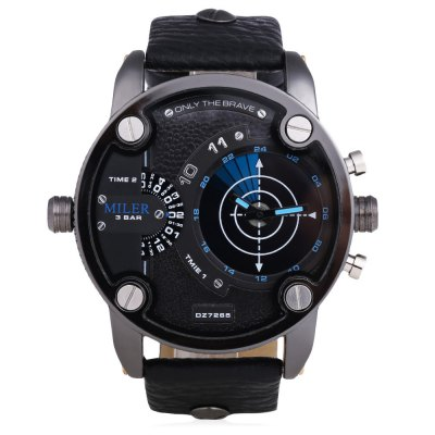 MILER A8260 Fashion Radar Pattern Men Quartz WatchMens Watches<br>MILER A8260 Fashion Radar Pattern Men Quartz Watch<br><br>Brand: Miler<br>Watches categories: Male table<br>Watch style: Fashion<br>Watch color: Blue + Black, Coffee + Black, Red + White, Blue + White, White + Yellow, Brown, White, Golden, Yellow + Black<br>Movement type: Quartz watch<br>Shape of the dial: Round<br>Display type: Analog<br>Case material: Stainless Steel<br>Band material: Leather<br>Clasp type: Pin buckle<br>Water resistance : 30 meters<br>Dial size: 6.1 x 6.1 x 1.8 cm<br>Band size: 26.6 x 2.5 cm<br>Wearable length: 19.7 - 25 cm / 7.76 - 9.84 inches<br>Product weight: 0.099 kg<br>Package weight: 0.134 kg<br>Product size (L x W x H): 26.60 x 6.10 x 1.80 cm / 10.47 x 2.4 x 0.71 inches<br>Package size (L x W x H): 27.60 x 7.10 x 2.80 cm / 10.87 x 2.8 x 1.1 inches<br>Package Contents: 1 x MILER A8260 Fashion Men Quartz Watch