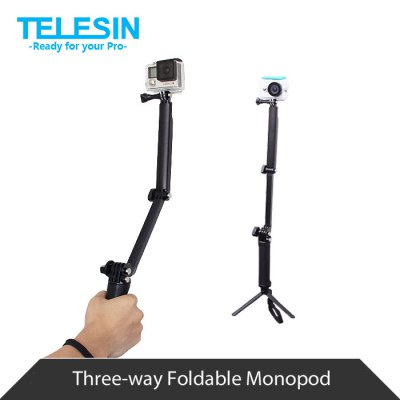 TELESIN Foldable Monopod with Protective Frame Cage for Polaroid Cube / Cube+