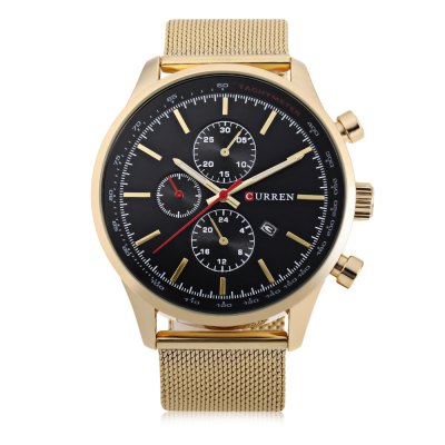 CURREN 8227 Business Decorative Sub-dial Men Quartz WatchMens Watches<br>CURREN 8227 Business Decorative Sub-dial Men Quartz Watch<br><br>Band material: Steel<br>Band size: 24.2 x 2.2 cm / 9.53 x 0.87 inches<br>Brand: Curren<br>Case material: Stainless Steel<br>Clasp type: Hook buckle<br>Dial size: 4.7 x 4.7 x 1.1 cm / 1.85 x 1.85 x 0.43 inches<br>Display type: Analog<br>Movement type: Quartz watch<br>Package Contents: 1 x CURREN 8227 Business Men Quartz Watch, 1 x Chinese and English User Manual<br>Package size (L x W x H): 25.20 x 5.70 x 2.10 cm / 9.92 x 2.24 x 0.83 inches<br>Package weight: 0.116 kg<br>Product size (L x W x H): 24.20 x 4.70 x 1.10 cm / 9.53 x 1.85 x 0.43 inches<br>Product weight: 0.082 kg<br>Shape of the dial: Round<br>Special features: Date, Decorative sub-dial<br>Watch color: Black, Silver, Red, Silver + Black, Black + Gold, White + Gold<br>Watch style: Business<br>Watches categories: Male table<br>Water resistance : Life water resistant