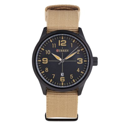 CURREN 8195 Casual Men Quartz WatchMens Watches<br>CURREN 8195 Casual Men Quartz Watch<br><br>Available Color: Black,Blue,Brown,White<br>Band material: Canvas<br>Band size: 27 x 2.2 cm / 10.63 x 0.87 inches<br>Brand: Curren<br>Case material: Stainless Steel<br>Clasp type: Pin buckle<br>Dial size: 4.7 x 4.7 x 1.5 cm / 1.85 x 1.85 x 0.59 inches<br>Display type: Analog<br>Movement type: Quartz watch<br>Package Contents: 1 x CURREN 8195 Casual Men Quartz Watch<br>Package size (L x W x H): 28.00 x 5.70 x 2.50 cm / 11.02 x 2.24 x 0.98 inches<br>Package weight: 0.093 kg<br>Product size (L x W x H): 27.00 x 4.70 x 1.50 cm / 10.63 x 1.85 x 0.59 inches<br>Product weight: 0.059 kg<br>Shape of the dial: Round<br>Watch style: Casual<br>Watches categories: Male table<br>Water resistance : Life water resistant<br>Wearable length: 18 - 24 cm / 7.09 - 9.45 inches