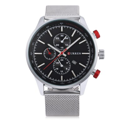 CURREN 8227 Business Decorative Sub-dial Men Quartz WatchMens Watches<br>CURREN 8227 Business Decorative Sub-dial Men Quartz Watch<br><br>Band material: Steel<br>Band size: 24.2 x 2.2 cm / 9.53 x 0.87 inches<br>Brand: Curren<br>Case material: Stainless Steel<br>Clasp type: Hook buckle<br>Dial size: 4.7 x 4.7 x 1.1 cm / 1.85 x 1.85 x 0.43 inches<br>Display type: Analog<br>Movement type: Quartz watch<br>Package Contents: 1 x CURREN 8227 Business Men Quartz Watch, 1 x Chinese and English User Manual<br>Package size (L x W x H): 25.20 x 5.70 x 2.10 cm / 9.92 x 2.24 x 0.83 inches<br>Package weight: 0.1160 kg<br>Product size (L x W x H): 24.20 x 4.70 x 1.10 cm / 9.53 x 1.85 x 0.43 inches<br>Product weight: 0.0820 kg<br>Shape of the dial: Round<br>Special features: Date, Decorative sub-dial<br>Watch color: Black, Silver, Red, Silver + Black, Black + Gold, White + Gold<br>Watch style: Business<br>Watches categories: Male table<br>Water resistance : Life water resistant