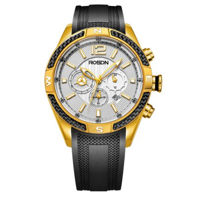 ROSDN Fashion Men Sapphire Mirror Sports Quartz WatchMens Watches<br>ROSDN Fashion Men Sapphire Mirror Sports Quartz Watch<br><br>Watches categories: Male table<br>Watch style: Fashion<br>Available color: Black,Gold,Rose Gold,Silver<br>Movement type: Quartz watch<br>Shape of the dial: Round<br>Display type: Analog<br>Case material: Stainless Steel<br>Band material: Silicone<br>Clasp type: Pin buckle<br>Special features: Luminous<br>Dial size: 4.4 x 4.4 x 1.3 cm / 1.73 x 1.73 x 0.51 inches<br>Band size: 24.5 x 2.2 cm / 9.65 x 0.87 inches<br>Product weight: 0.105 kg<br>Package weight: 0.165 kg<br>Product size (L x W x H): 24.50 x 4.40 x 1.30 cm / 9.65 x 1.73 x 0.51 inches<br>Package size (L x W x H): 28.00 x 8.00 x 3.50 cm / 11.02 x 3.15 x 1.38 inches<br>Package Contents: 1 x ROSDN Fashion Men Sports Quartz Watch