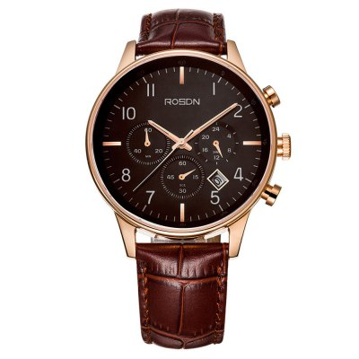 ROSDN Fashion Men Sapphire Mirror Sports Quartz WatchMens Watches<br>ROSDN Fashion Men Sapphire Mirror Sports Quartz Watch<br><br>Watches categories: Male table<br>Watch style: Trends in outdoor sports<br>Available color: Black,Coffee,White<br>Movement type: Quartz watch<br>Watch mirror: Sapphire<br>Shape of the dial: Round<br>Display type: Analog<br>Case material: Stainless Steel<br>Band material: Genuine Leather<br>Clasp type: Butterfly clasp<br>Special features: Luminous<br>Water resistance : 50 meters<br>Dial size: 4.2 x 4.2 x 1.05 cm / 1.65 x 1.65 x 0.41 inches<br>Band size: 26.5 x 2 cm / 10.43 x 0.79 inches<br>Product weight: 0.160 kg<br>Package weight: 0.220 kg<br>Product size (L x W x H): 26.50 x 4.20 x 1.05 cm / 10.43 x 1.65 x 0.41 inches<br>Package size (L x W x H): 28.00 x 8.00 x 3.50 cm / 11.02 x 3.15 x 1.38 inches<br>Package Contents: 1 x ROSDN Men Sports Quartz Watch