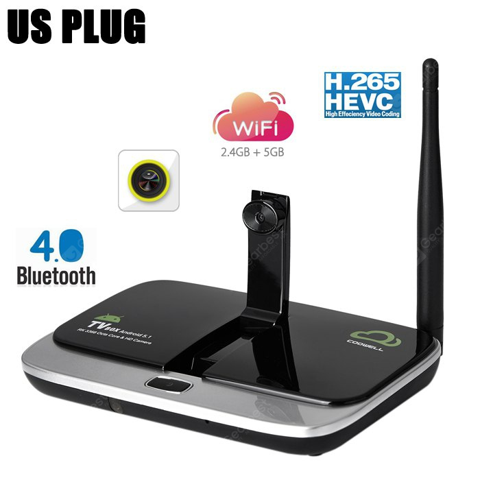COOWELL V4 Android TV Box with Camera Dual Band WiFi