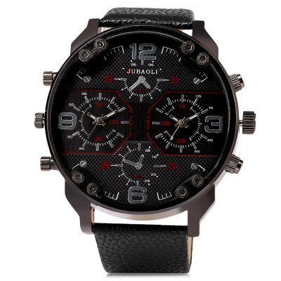 JUBAOLI 1119 Casual Dual Movements Men Quartz WatchMens Watches<br>JUBAOLI 1119 Casual Dual Movements Men Quartz Watch<br><br>Brand: Jubaoli<br>Watches categories: Male table<br>Watch style: Casual<br>Watch color: Black, Red, Green, Gold, Black + Gold, Black + White<br>Movement type: Double-movtz<br>Shape of the dial: Round<br>Display type: Analog<br>Case material: Alloy<br>Band material: Leather<br>Clasp type: Pin buckle<br>Special features: Decorative sub-dial<br>Water resistance : Life water resistant<br>Dial size: 6.4 x 6.4 x 1.7 cm / 2.52 x 2.52 x 0.67 inches<br>Band size: 27.6 x 2.8 / 10.87 x 1.10 inches<br>Wearable length: 19.7 - 25.7 cm / 7.76 - 10.12 inches<br>Product weight: 0.104 kg<br>Package weight: 0.140 kg<br>Product size (L x W x H): 27.60 x 6.40 x 1.70 cm / 10.87 x 2.52 x 0.67 inches<br>Package size (L x W x H): 28.60 x 7.40 x 2.70 cm / 11.26 x 2.91 x 1.06 inches<br>Package Contents: 1 x JUBAOLI Casual Men Quartz Watch