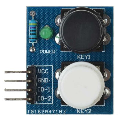 LDTR - Key2 2 - Independent Key Touch Button ModuleOther Accessories<br>LDTR - Key2 2 - Independent Key Touch Button Module<br><br>Color: Colormix<br>Mainly Compatible with: Arduino<br>Material: FR4<br>Model: LDTR - Key2<br>Package Contents: 1 x Button Module<br>Package Size(L x W x H): 7.00 x 5.00 x 2.50 cm / 2.76 x 1.97 x 0.98 inches<br>Package weight: 0.025 kg<br>Product Size(L x W x H): 3.10 x 3.10 x 1.50 cm / 1.22 x 1.22 x 0.59 inches<br>Product weight: 0.006 kg