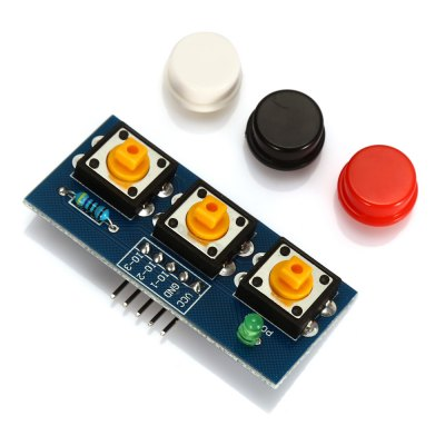 LDTR - Key3 3 - 6V Independent Key Touch Button ModuleOther Accessories<br>LDTR - Key3 3 - 6V Independent Key Touch Button Module<br><br>Color: Colormix<br>Mainly Compatible with: Arduino<br>Model: LDTR - Key3<br>Package Contents: 1 x Module, 3 x Button Cap<br>Package Size(L x W x H): 7.00 x 5.00 x 2.50 cm / 2.76 x 1.97 x 0.98 inches<br>Package weight: 0.030 kg<br>Product Size(L x W x H): 5.00 x 2.50 x 1.50 cm / 1.97 x 0.98 x 0.59 inches<br>Product weight: 0.009 kg