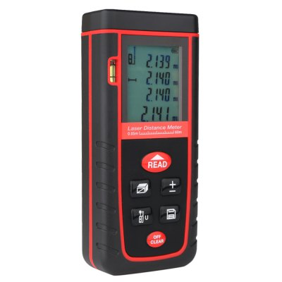 RZ RZ - S60 Handheld Laser Distance MeterLaser Rangefinder, Electronic Distance Meter<br>RZ RZ - S60 Handheld Laser Distance Meter<br><br>Area Measurement: Yes<br>Battery Type: Alkaline Battery<br>Battery Voltage: 1.5V<br>Brand: RZ<br>Color: Black<br>Continuous Measurement: Yes<br>Detection Range (Meter): 0.05 - 60<br>Measurement Accuracy: Plus or Minus 2mm<br>Measuring Unit: Foot,inch,Meter<br>Model: RZ - S60<br>Package Contents: 1 x RZ RZ - S60 Handheld Laser Distance Meter, 1 x Pouch Bag, 1 x Holding Rope, 1 x Bilingual User Manual in English / German, 1 x Multilingual User Manual in French / Spanish / Italian<br>Package size (L x W x H): 17.00 x 12.00 x 7.00 cm / 6.69 x 4.72 x 2.76 inches<br>Package weight: 0.2750 kg<br>Product size (L x W x H): 11.20 x 5.00 x 2.50 cm / 4.41 x 1.97 x 0.98 inches<br>Product weight: 0.0900 kg<br>Pythagoras Measurement: Yes<br>Staking-out Measurement: Yes<br>Volume Measurement: Yes