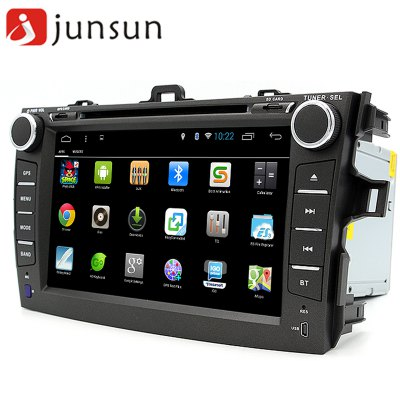 Junsun R168 - TYT Android 4.4 Car Media DVD PlayerCar DVD Player<br>Junsun R168 - TYT Android 4.4 Car Media DVD Player<br><br>Model: R168 - TYT<br>Type: 2-DIN<br>Material: Electronic Components,Metal,Plastic<br>Installation Site: In-Dash<br>Screen type: Digital touch screen<br>Screen size: 8inch<br>Screen resolution: 1024 x 600<br>CPU Chips: Cortex A7<br>CPU Main Freq.: 1.6GHz<br>RAM (memory): DDR3 1GB<br>FLASH (internal storage): 16GB<br>Media Format: AVI,FLAC,MOV,MP3,MP4,MPEG,MPEG2,MPEG4,MPG,RM,RMVB,WMA,WMV<br>OSD Language: Arabic,Chinese,Czech,English,etc,French,German,Italian,Japanse,Portuguese,Russian,Slovak,Spanish,Swedish,Turkish<br>Input: DC 12V<br>Product weight: 2.350 kg<br>Package weight: 2.950 kg<br>Product size (L x W x H): 28.00 x 18.50 x 13.50 cm / 11.02 x 7.28 x 5.31 inches<br>Package size (L x W x H): 35.50 x 26.00 x 25.50 cm / 13.98 x 10.24 x 10.04 inches<br>Package Contents: 1 x Car Media Player, 1 x Remote Controller, 1 x GPS Antenna (300cm), 1 x Power Cable Harness (24cm), 1 x Radio Cable, 1 x USB Adaptive Cable (15cm), 1 x Microphone (300cm), 1 x English User Manual