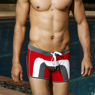 Male Spliced Color Low-waist Lace-up Swimming Trunks Boxers
