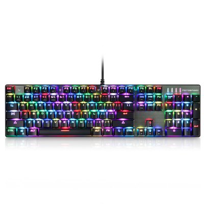 Motospeed Inflictor CK104 Gaming Mechanical KeyboardKeyboards<br>Motospeed Inflictor CK104 Gaming Mechanical Keyboard<br><br>Anti-ghosting Number: All<br>Backlight Type: RGB Light<br>Bluetooth Version: Not Supported<br>Brand: Motospeed, Motospeed<br>Cable Length (m): 1.65m<br>Color: Gold,Red,Silver<br>Connection: Wired<br>Features: Gaming<br>Interface: USB 2.0<br>Key Number: 104<br>Keyboard Lifespan ( times): 50 million<br>Keyboard Switch Brand: OUTEMU<br>Keyboard Type: Mechanical Keyboard<br>Material: Aluminum Alloy<br>Model: Inflictor CK104<br>Operating voltage: 5V + / - 5 percent<br>Operation Current: 500mA ( max )<br>Package Contents: 1 x Motospeed Inflictor CK104 Keyboard, 1 x Key Puller, 1 x Multi-language User Manual ( Chinese, English, Japanese, Korean, German, Portuguese, Turkish, Spanish, Polish )<br>Package size (L x W x H): 47.80 x 16.20 x 7.20 cm / 18.82 x 6.38 x 2.83 inches<br>Package weight: 1.0800 kg<br>Power Supply: USB Port<br>Product size (L x W x H): 43.70 x 12.80 x 3.40 cm / 17.2 x 5.04 x 1.34 inches<br>Product weight: 0.7900 kg<br>Response Speed: 3ms<br>Suitable for: PC<br>Type: Keyboard