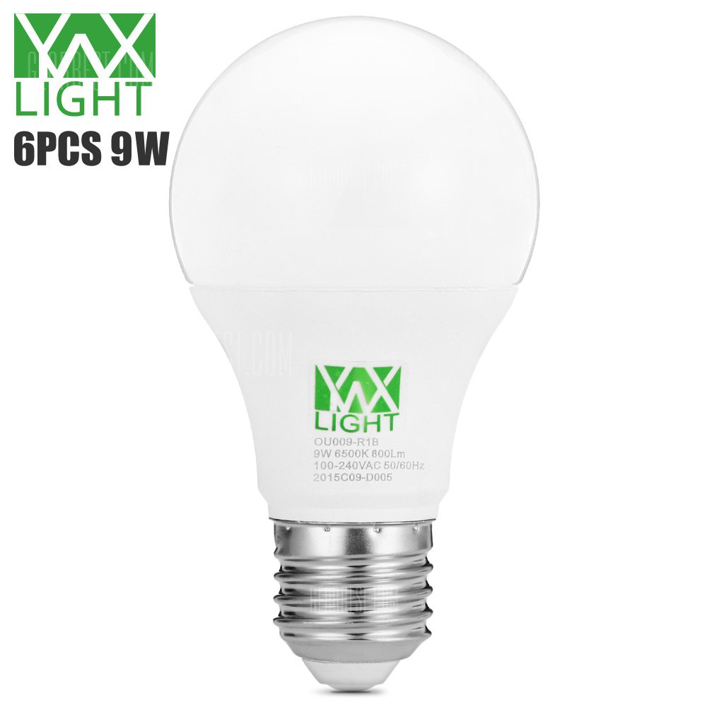 6pcs YWXLight 9W E27 800Lm SMD2835 LED Ball Bulb