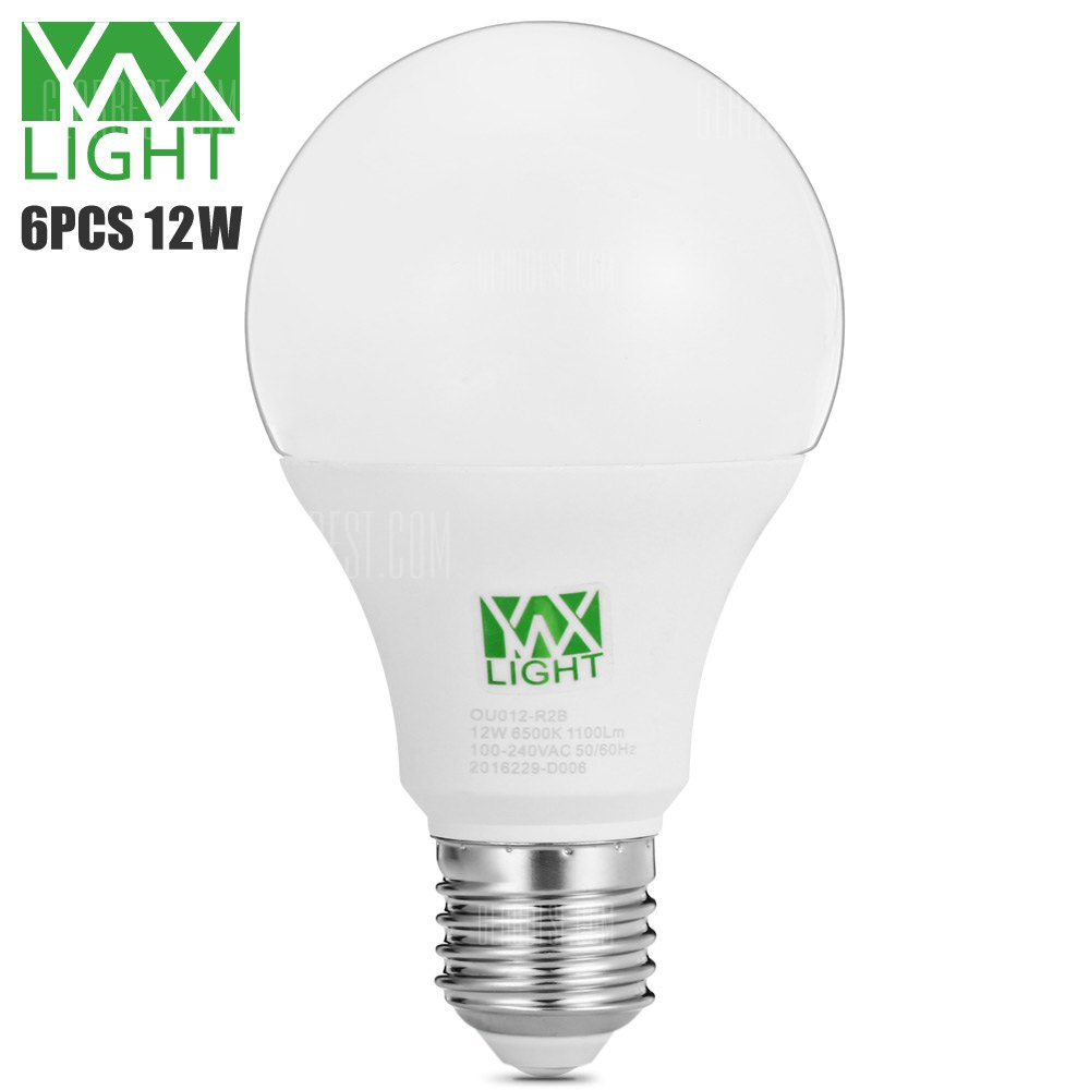 6pcs YWXLight 12W E27 1100Lm SMD2835 LED Ball Bulb