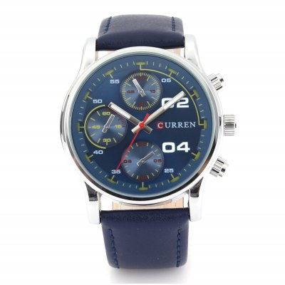 CURREN 8207 Casual Decorative Sub-dial Men Quartz WatchMens Watches<br>CURREN 8207 Casual Decorative Sub-dial Men Quartz Watch<br><br>Brand: Curren<br>Watches categories: Male table<br>Watch style: Casual<br>Available color: Black,Blue,Brown,Coffee,Gray,Green<br>Movement type: Quartz watch<br>Shape of the dial: Round<br>Display type: Analog<br>Case material: Stainless Steel<br>Band material: Leather<br>Clasp type: Pin buckle<br>Special features: Decorative sub-dial<br>Water resistance : Life water resistant<br>Dial size: 4.8 x 4.8 x 1.2 cm / 1.89 x 1.89 x 0.47 inches<br>Band size: 26 x 2.4 cm / 10.24 x 0.94 inches<br>Wearable length: 18.5 - 24 cm / 7.28 - 9.45 inches<br>Product weight: 0.062 kg<br>Package weight: 0.096 kg<br>Product size (L x W x H): 26.00 x 4.80 x 1.20 cm / 10.24 x 1.89 x 0.47 inches<br>Package size (L x W x H): 27.00 x 5.80 x 2.20 cm / 10.63 x 2.28 x 0.87 inches<br>Package Contents: 1 x CURREN 8207 Casual Quartz Watch
