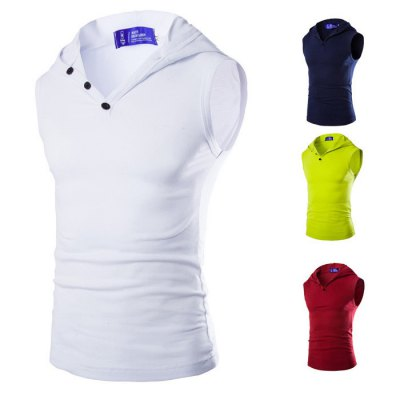 Summer Men V-neck Sleeveless Solid Color Hooded Tank Tops