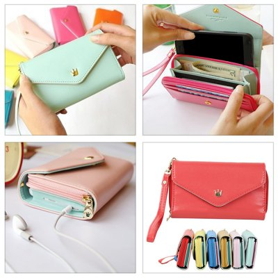 Female Multifunctional PU Wallet Coin Card Purse Phone Case