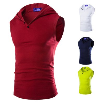 Summer Men V-neck Sleeveless Hoodie Solid Color Hooded Tank Tops