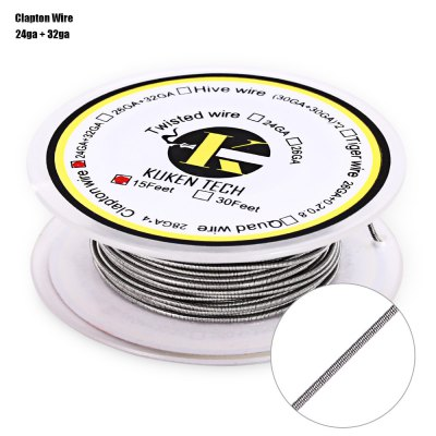 Kuken Tech Clapton Resistance WireAccessories<br>Kuken Tech Clapton Resistance Wire<br><br>Accessories type: Wicks/Wires<br>Available Color: Silver<br>Material: Kanthal<br>Package Contents: 1 x Kuken Tech Clapton Resistance Wire ( 15 Feet )<br>Package size (L x W x H): 6.60 x 6.60 x 3.00 cm / 2.6 x 2.6 x 1.18 inches<br>Package weight: 0.0460 kg<br>Product size (L x W x H): 5.60 x 5.60 x 2.00 cm / 2.2 x 2.2 x 0.79 inches<br>Product weight: 0.0320 kg<br>Type: Electronic Cigarettes Accessories