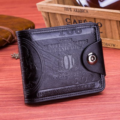 Men Retro US Dollar Compact Wallet with Magnetic Hasp