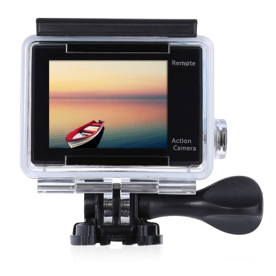 H8R 170 Degree Wide Angle 4K Ultra HD WiFi Action CameraH8R 170 Degree Wide Angle 4K Ultra HD WiFi Action Camera<br><br>Model: H8R<br>Type: Sports Camera<br>Chipset Name: Sunplus<br>Chipset: Sunplus 6350<br>Max External Card Supported: TF 32G (not included)<br>Class Rating Requirements: Class 10 or Above<br>Screen size: 2.0inch<br>Screen type: LCD<br>Battery Type: Removable<br>Capacity: 1050mAh<br>Charge way: USB charge by PC<br>Working Time: 1.5 hours at 1080P 30fps, 50min at 4K 30fps / 2.7K 30fps / 1080P 60fps<br>Wide Angle: 170 degree wide angle<br>Camera Pixel : 12MP<br>Decode Format: H.264<br>Video format: MOV<br>Video Resolution: 1080P(30fps),1080P(60fps),2.7K (2704 x 1524),4K (30fps)<br>Video System: PAL<br>Video Output : HDMI<br>Image Format : JPG<br>Audio System: Built-in microphone/speaker (AAC)<br>Exposure Compensation: +0.3,+0.7,+1,+1.3,+1.7,+2,-0.3,-0.7,-1,-1.3,-1.7,-2,0<br>WIFI: Yes<br>WiFi Function: Image Transmission,Sync and Sharing Albums<br>WiFi Distance : 30m<br>Waterproof: Yes<br>Water Resistant: 30m<br>Loop-cycle Recording : Yes<br>Loop-cycle Recording Time: 10min,OFF<br>HDMI Output: Yes<br>USB Function: USB-Disk<br>Time Stamp: Yes<br>Interface Type: Micro HDMI,Micro USB,TF Card Slot<br>Language: Czech,Deutsch,Dutch,English,French,Italian,Japanese,Korean,Polski,Portuguese,Russian,Spanish,Thai,Traditional Chinese,Turkish<br>Frequency: 50Hz,60Hz,Auto<br>Product weight: 0.069 kg<br>Package weight: 0.618 kg<br>Product size (L x W x H): 5.80 x 4.00 x 2.00 cm / 2.28 x 1.57 x 0.79 inches<br>Package size (L x W x H): 28.50 x 18.00 x 8.00 cm / 11.22 x 7.09 x 3.15 inches<br>Package Contents: 1 x H8R 4K Action Camera + Waterproof Housing Case + Base + Long Screw, 1 x 1050mAh Battery, 1 x 2.4G Remote Controller, 1 x Wrist Strap for RC, 1 x Power Adapter (100 - 240V), 1 x USB Cable, 1 x Fram
