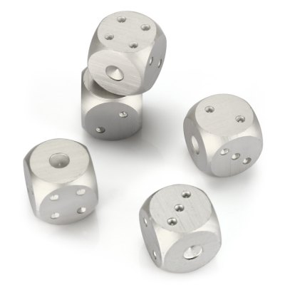 5pcs 6-sided Aluminum Alloy Game DiceClassic Toys<br>5pcs 6-sided Aluminum Alloy Game Dice<br><br>Appliable Crowd: Unisex<br>Materials: Metal<br>Nature: Other<br>Package Contents: 5 x Dice ( with Box )<br>Package size: 9.00 x 8.00 x 4.50 cm / 3.54 x 3.15 x 1.77 inches<br>Package weight: 0.089 kg<br>Product size: 1.60 x 1.60 x 1.60 cm / 0.63 x 0.63 x 0.63 inches<br>Product weight: 0.066 kg<br>Specification: Chinese