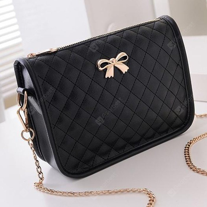 Trendy Women Crossbody Bag with Checked Bowknot Pattern
